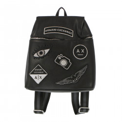 BLACK BACKPACK WITH PATCHES