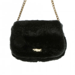BLACK ECO FUR SHOULDER BAG