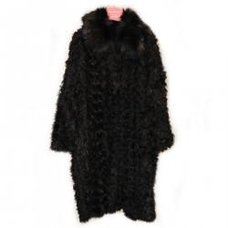 BLACK COAT IN ECO FUR