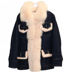 BLUE JACKET IN JEANS WITH FUR INSERTS