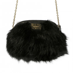 BLACK ECO FUR MINI SHOULDER BAG