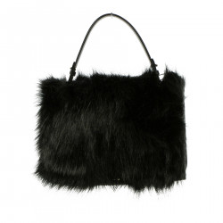 BLACK HAND BAG WITH ECO FUR INSERTS