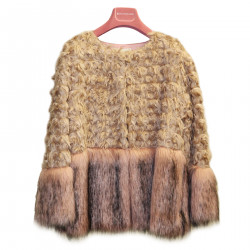 BEIGE AND PINK ECO FUR