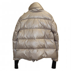 GRAY DOWN JACKET WITH HIGH NECK