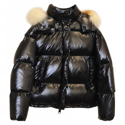 BLACK DOWN JACKET WITH HOOD