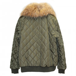 GREEN DOWN JACKET WITH FUR INSERTS