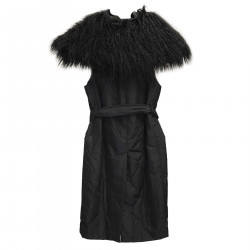 DARK BLUE VEST WITH ECO FUR INSERTS