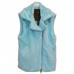 LIGHT BLUE ECO FUR VEST