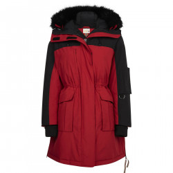 RED AND BLACK JACKET WITH HOOD