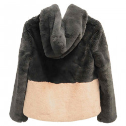 GRAY AND PINK ECO FUR