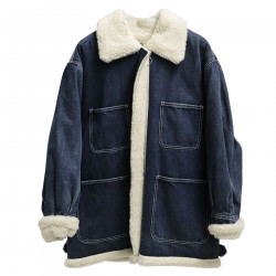 BLUE JACKET IN JEANS WITH INTERNAL ECO FUR