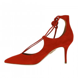 RED SUEDE DECOLLETE
