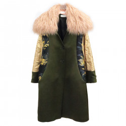 TRICOLOR COAT WITH ECO-FUR INSERTS