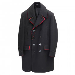 LONG BLACK COAT WITH RED DETAILS