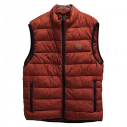 ORANGE SLEEVELESS PADDED JACKET