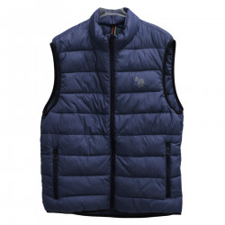 BLUE SLEEVELESS PADDED JACKET
