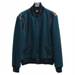 GREEN JACKET WITH LEATHER DETAILS