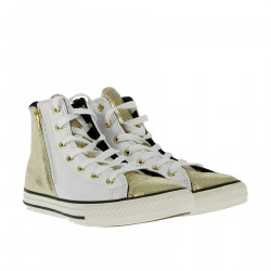 WHITE AND GOLD HIGH SNEAKER