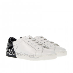 WHITE AND BLACK LEATHER SNEAKER