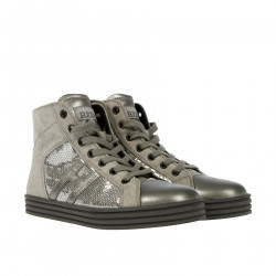 GREY HIGH SNEAKER WITH SEQUINS