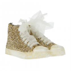 HIGH SNEAKER WITH GOLD GLITTERS