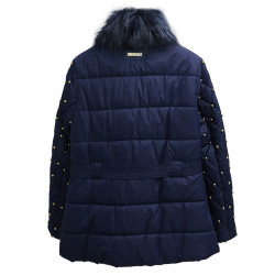 BLUE PADDED JACKET WITH GOLD STUDS
