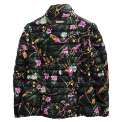 BLACK FLORAL SHORT PADDED JACKET
