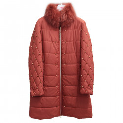 LIGHT RED LONG PADDED JACKET