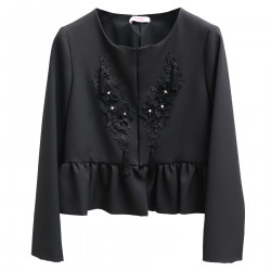BLACK JACKET WITH FLORAL APPLICATIONS