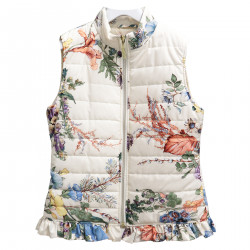 CREAM SLEEVELESS FLORAL PADDED JACKET