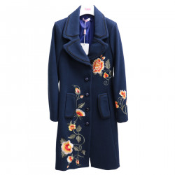 BLUE COAT WITH EMBROIDERED FLOWERS