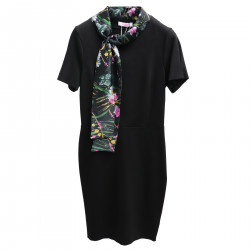 BLACK DRESS WITH FLORAL COLLAR