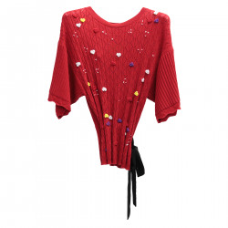 CHERRY SWEATER WITH APPLICATIONS