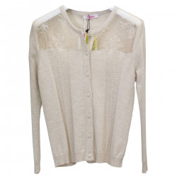 BEIGE CARDIGAN WITH LACE