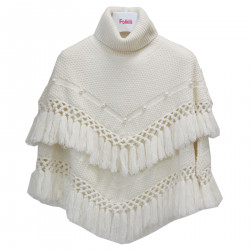 WHITE PONCHO WITH FRINGES