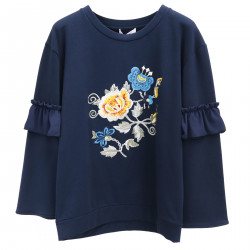 BLUE SWEATSHIRT WITH EMBROIDERED FLOWERS