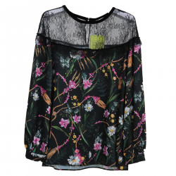 BLACK FLORAL BLOUSE WITH LACE