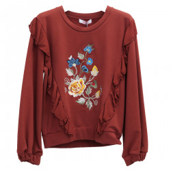 BORDEAUX SWEATSHIRT WITH EMBROIDERED FLOWERS