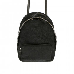 BLACK MINI BACKPACK WITH SILVER CHAINS