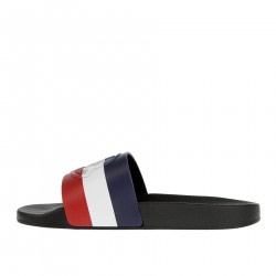 BLUE WHITE AND RED SLIPPERS