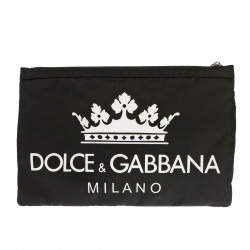 BLACK CLUTCH WITH CONTRASTING LOGO
