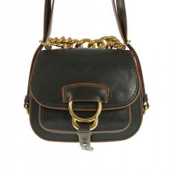 BLACK SHOULDER BAG WITH BROWN DETAILS