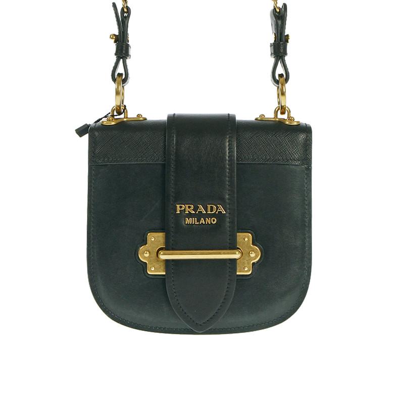 62b01cccb87 PRADA Trovaprezzinuovo BLACK SHOULDER BAG WITH GOLD CHAINS Woman -  Threedifferent