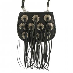 BLACK SHOULDER BAG WITH FRINGES