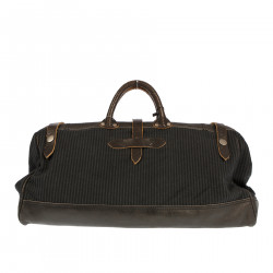 STRIPED HANDBAG WITH LEATHER DETAILS