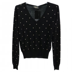 BLACK SWEATER WITH APPLICATION