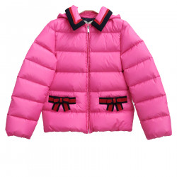 PINK DOWN JACKET WITH HOOD AND BOWS
