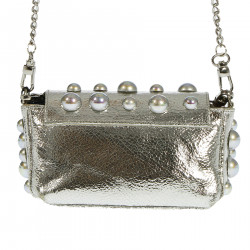 SILVER SHOULDER BAG WITH STUDS