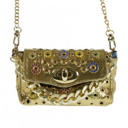 GOLD SHOULDER BAG WITH STONES