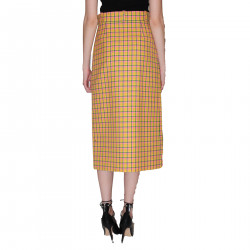 YELLOW CHECKED PENCIL SKIRT